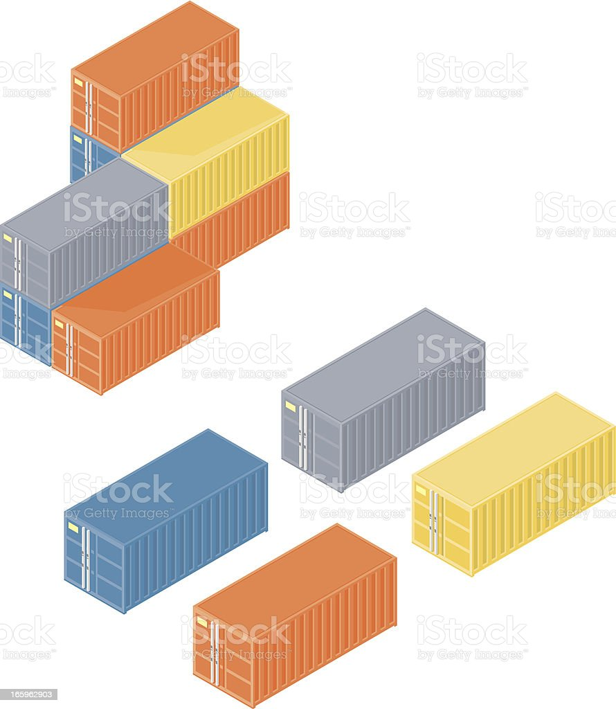 Isometric Containers vector art illustration