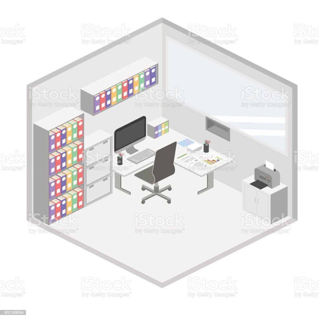 Isometric Creative Office Interior Design Vector Set Of Object Royalty Free Stock Art