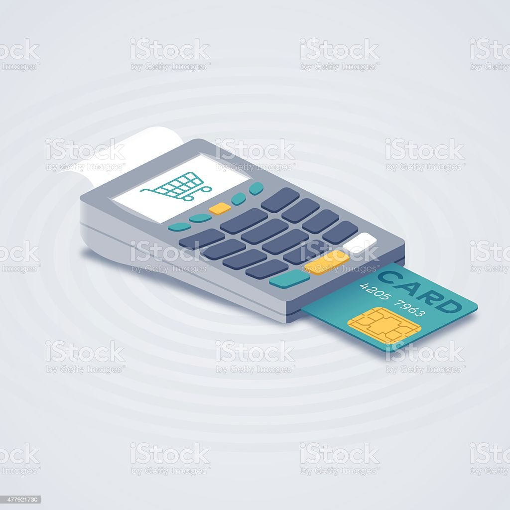 Isometric Credit Card Reader Purchase System vector art illustration