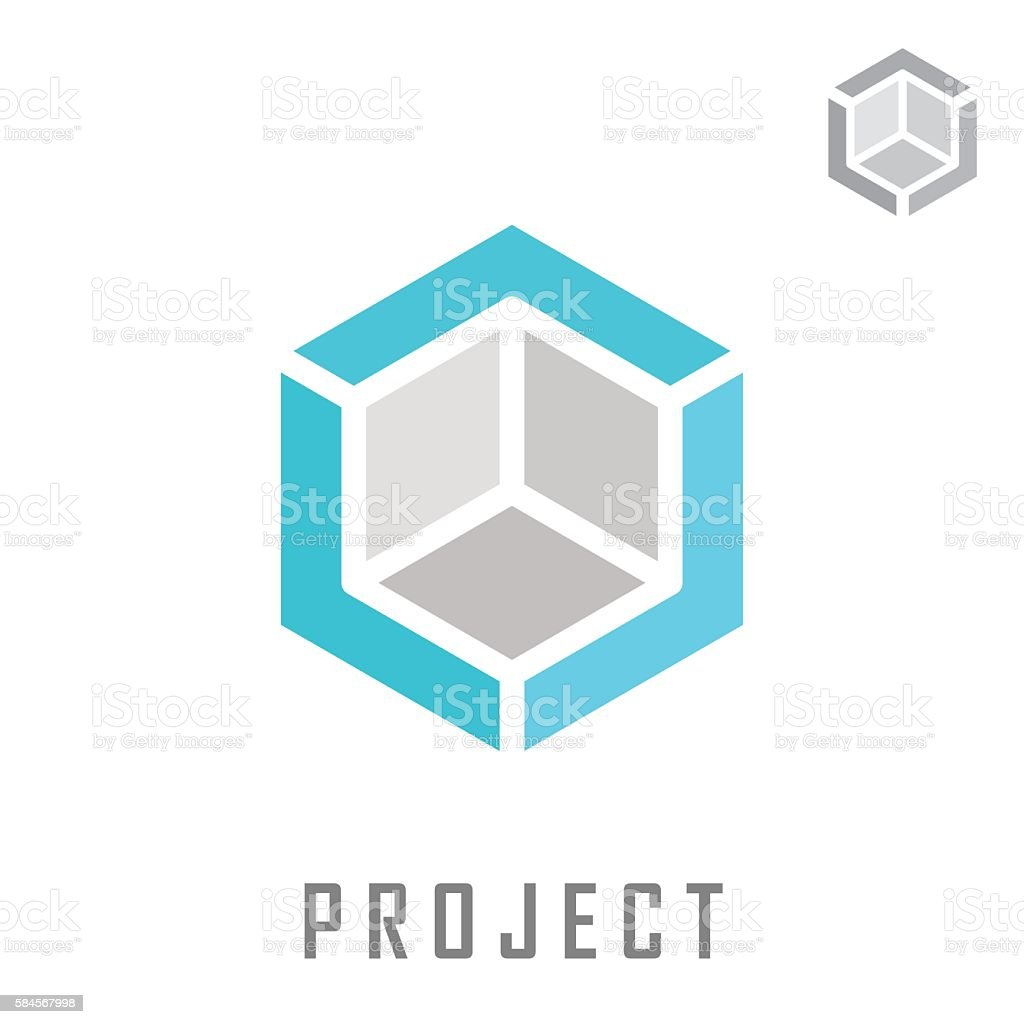 Isometric cube construction vector art illustration