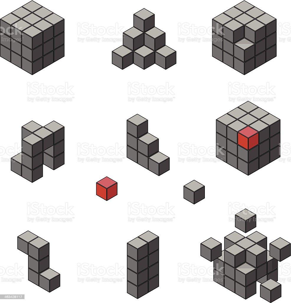 Isometric Cube Icon vector art illustration