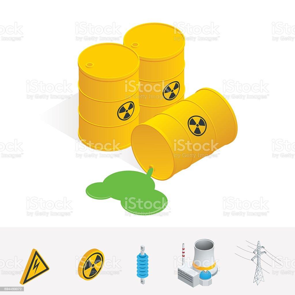 Isometric Debris Atomic Energy. Danger radiation vector art illustration