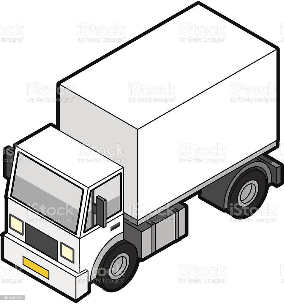Isometric Delivery Truck stock photo