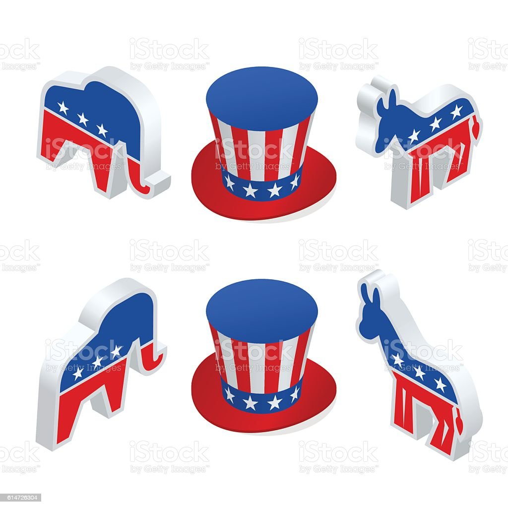 Isometric democrat donkey and the republican elephant vector art illustration