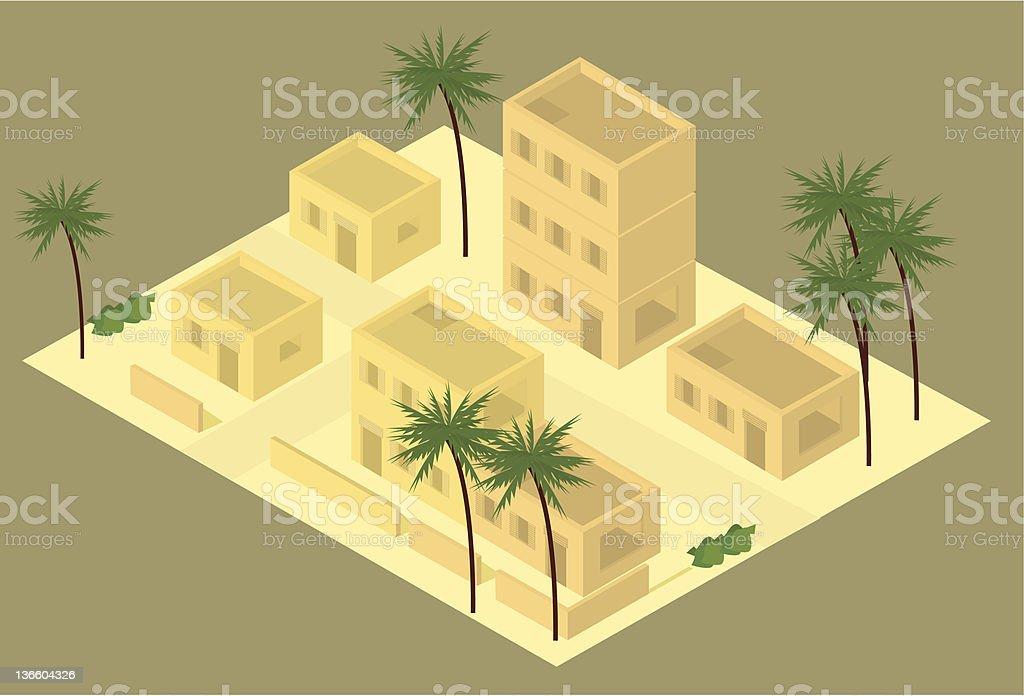 Isometric desert building illustration royalty-free stock vector art