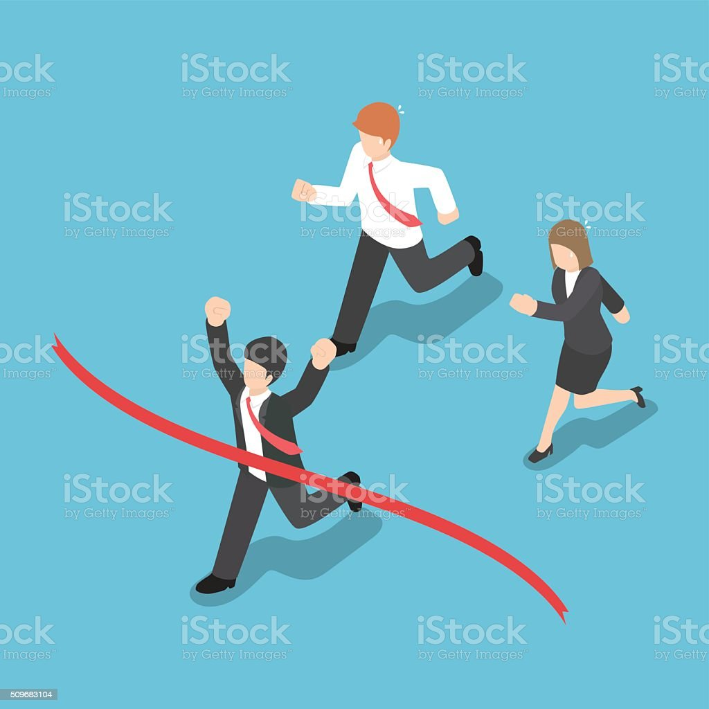 Isometric design businessman winning competition and crossing th vector art illustration