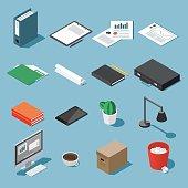 Isometric desk equipment set