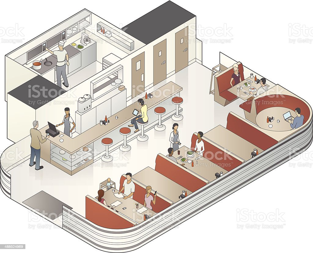 Isometric Diner Cutaway Illustration vector art illustration