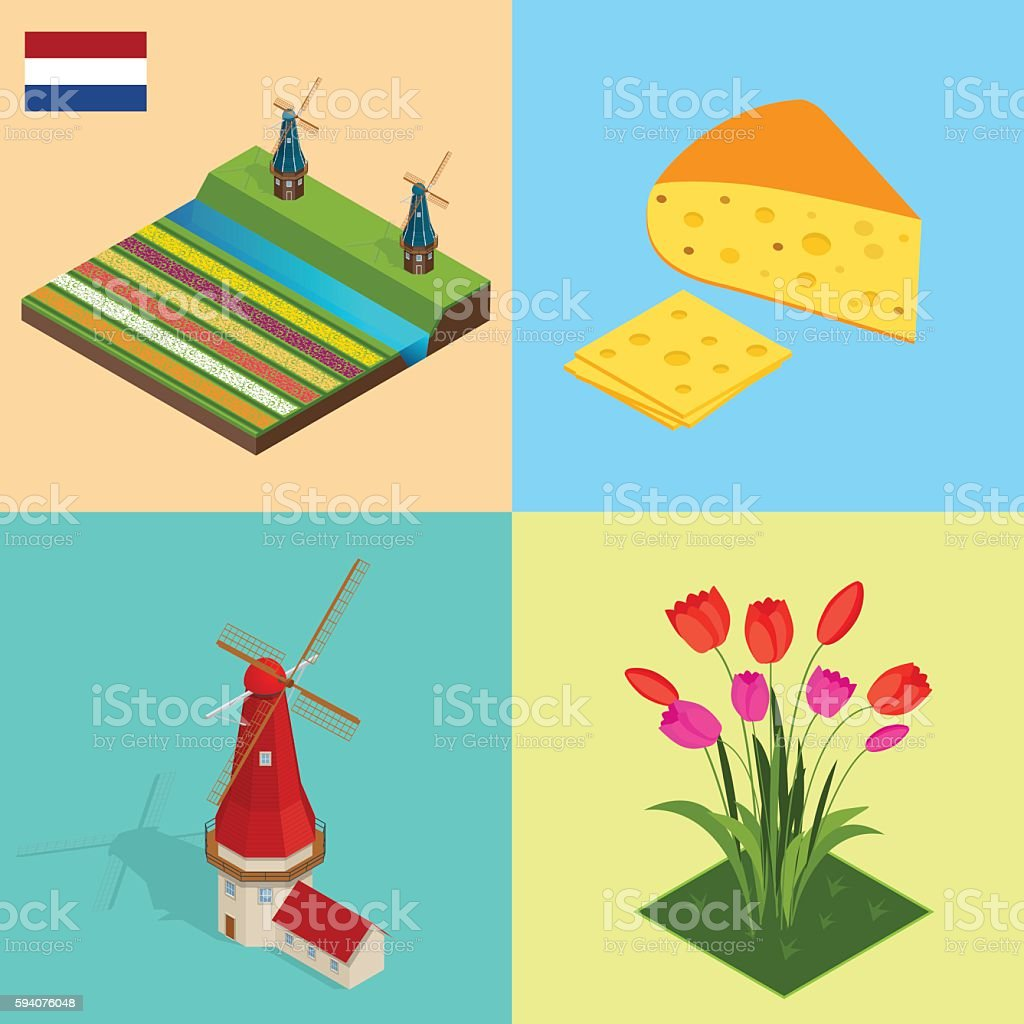Isometric Dutch windmill, colorful tulips flowers, Netherlands vector art illustration