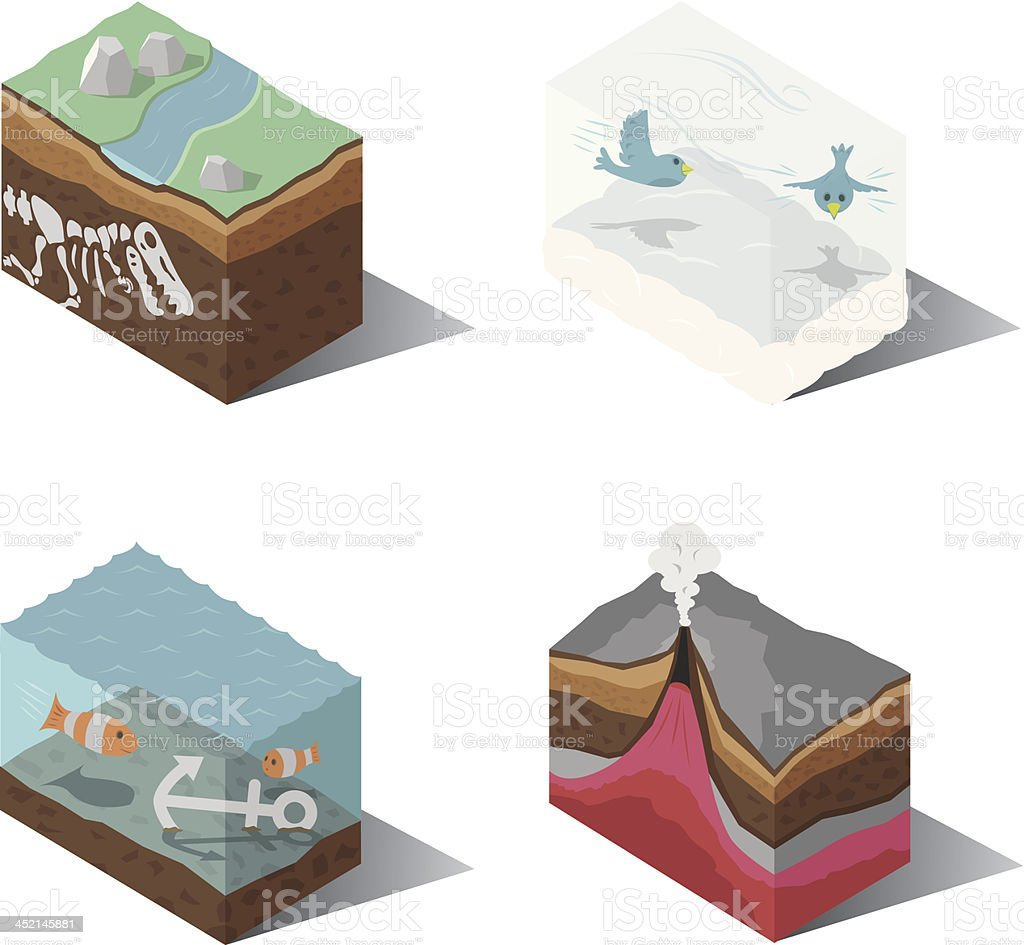 Isometric | Earth, Wind, Water, Fire vector art illustration