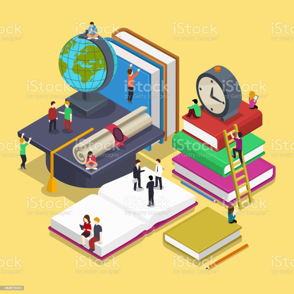 Isometric education graduation concept with people in flat vector style vector art illustration