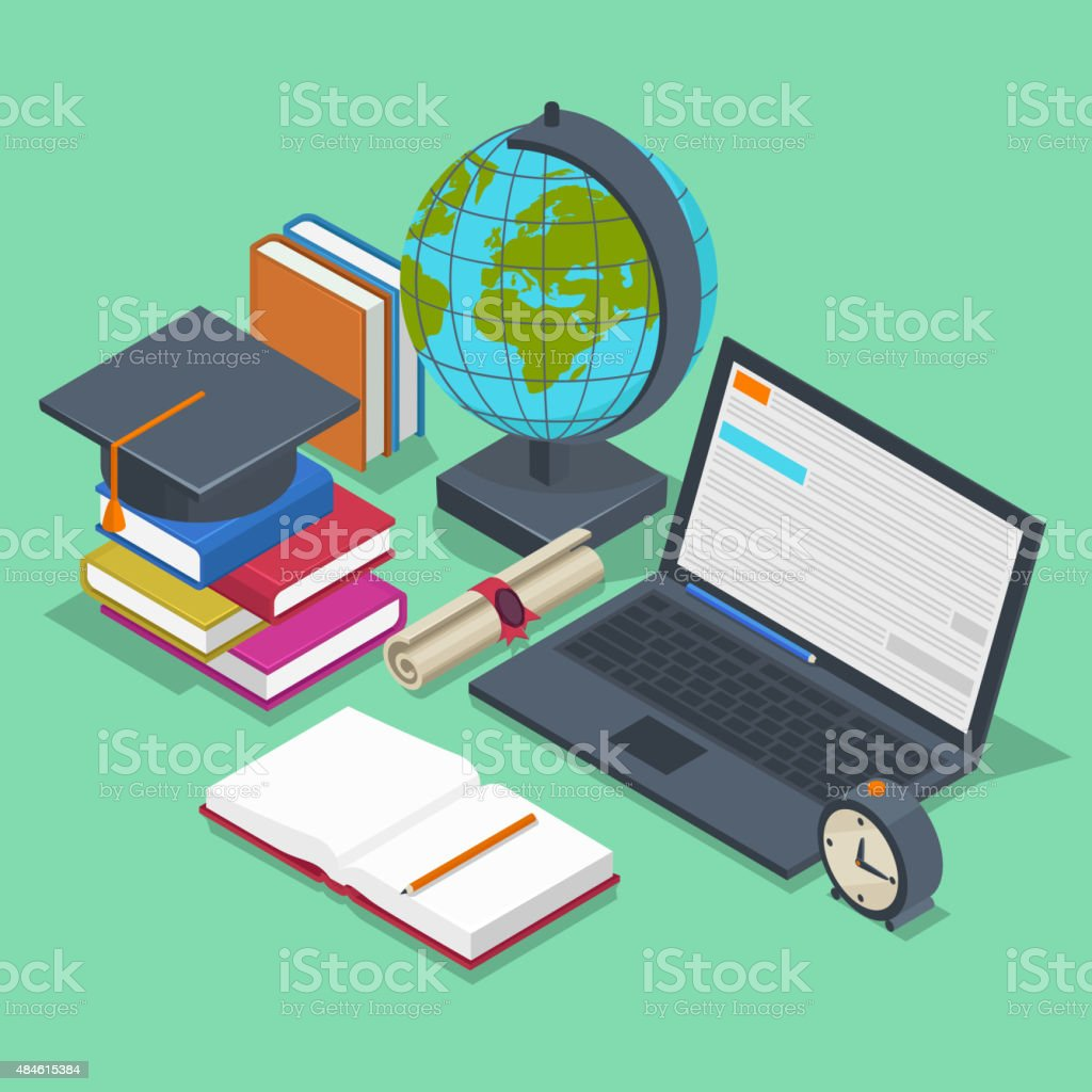 Isometric education vector concept. 3d back to school background in vector art illustration
