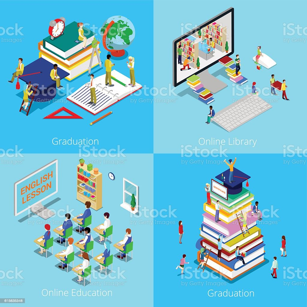 Isometric Educational Concept. Online Education, Online Library, Graduation with Cap vector art illustration