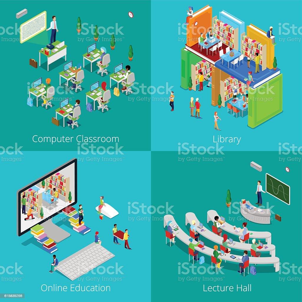 Isometric Educational Concept. University Computer Classroom, Online Education, Library vector art illustration