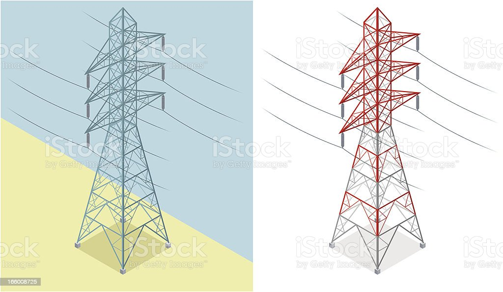 Isometric, Electricity Pylon royalty-free stock vector art
