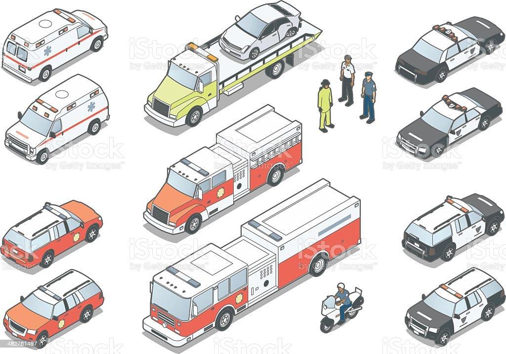 Isometric Emergency Vehicles royalty-free stock vector art
