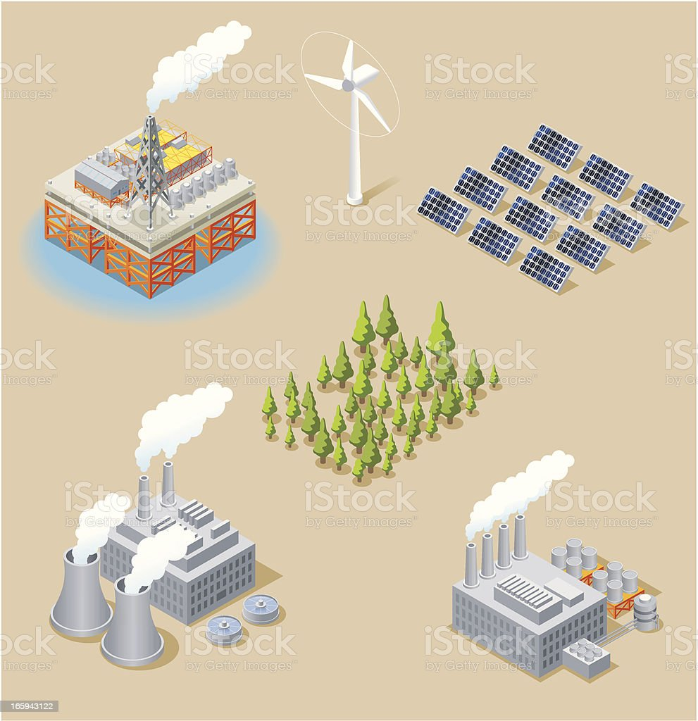 Isometric, Energy Set vector art illustration