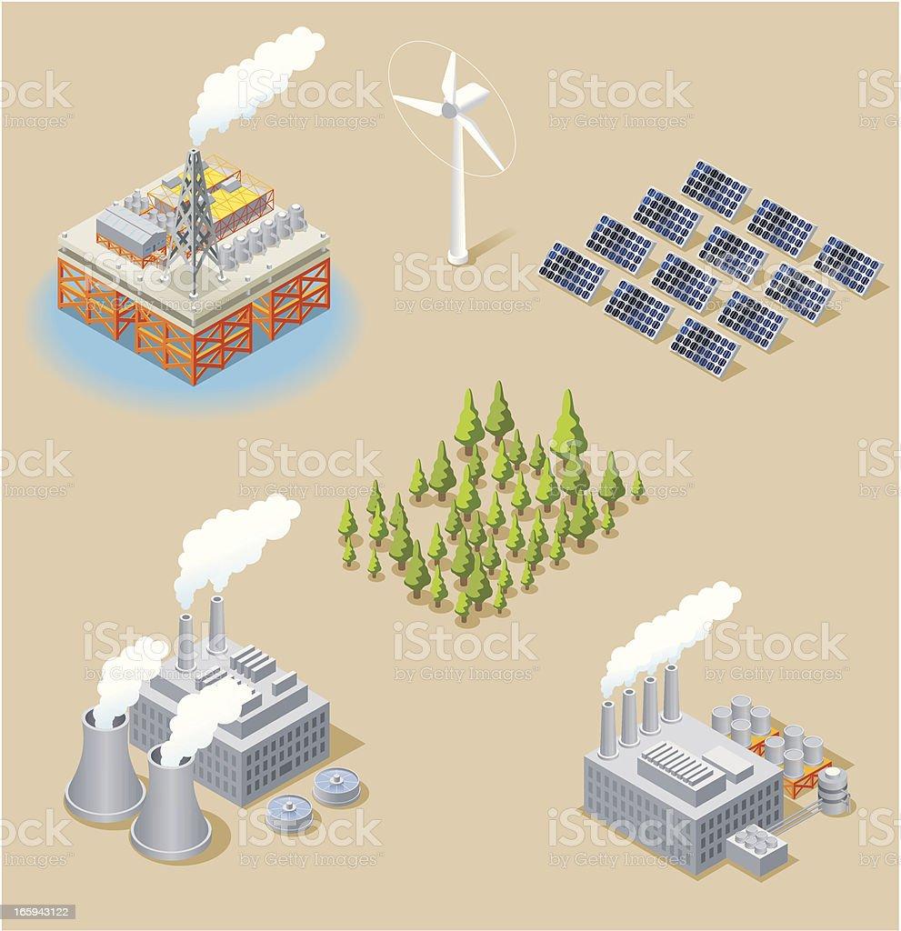 Isometric, Energy Set vector art illustration