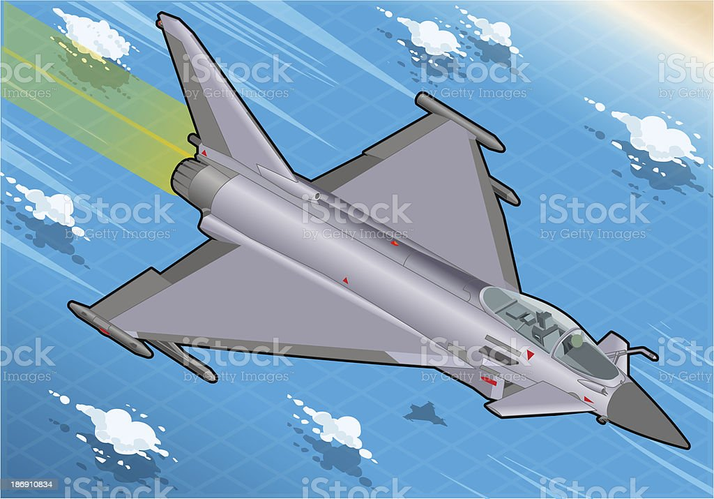 Isometric Eurofighter in Flight royalty-free stock vector art