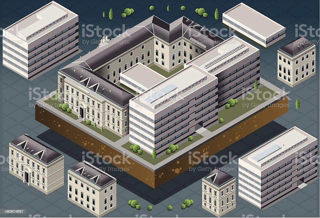 Isometric European Historic Building royalty-free stock vector art
