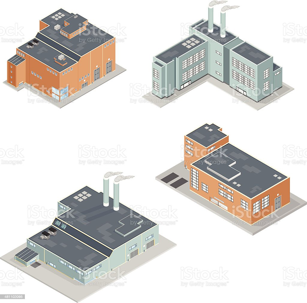 Isometric Factory Building Icons vector art illustration