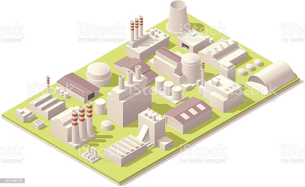Isometric factory buildings royalty-free stock vector art