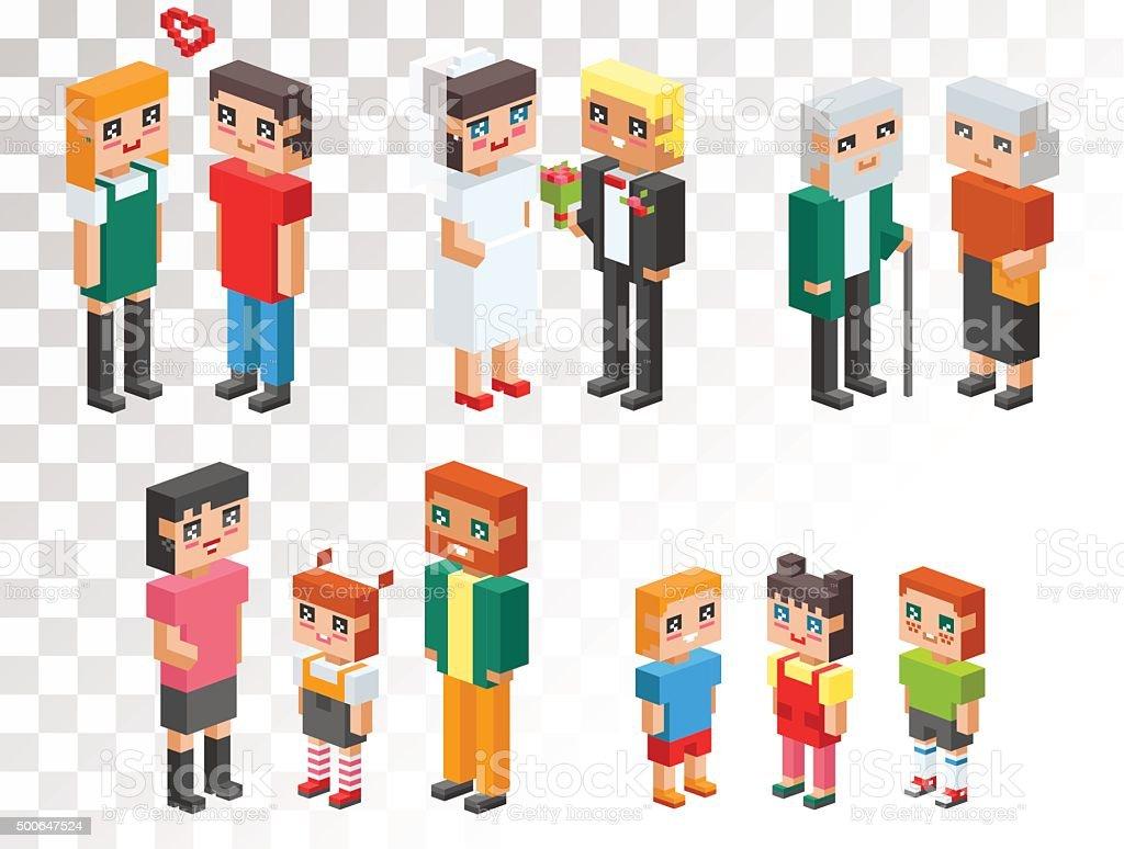 Isometric family couples love hearts vector art illustration