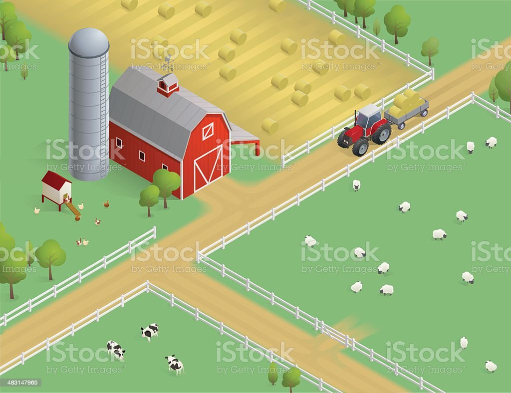 Isometric Farm Scene vector art illustration