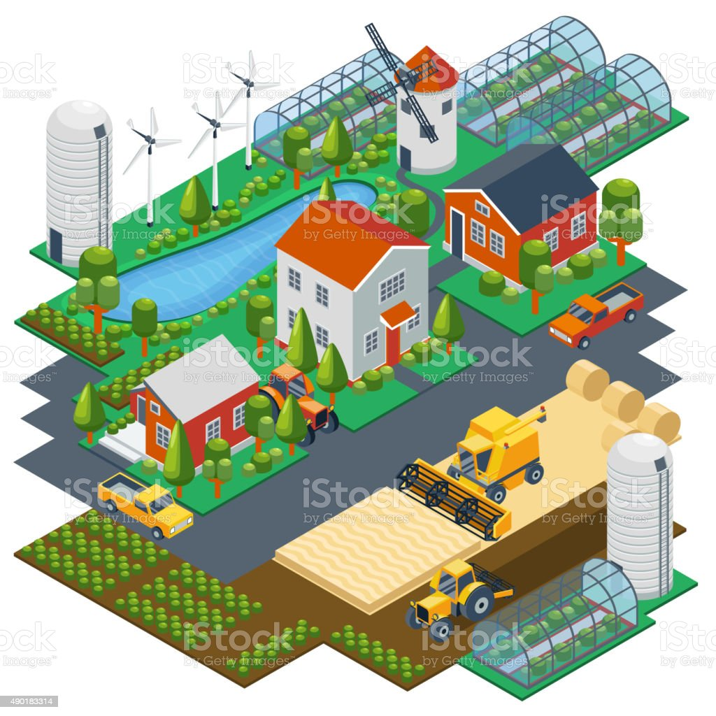 Isometric farm scene. Village setting with buildings, tractor, combine, pickup vector art illustration