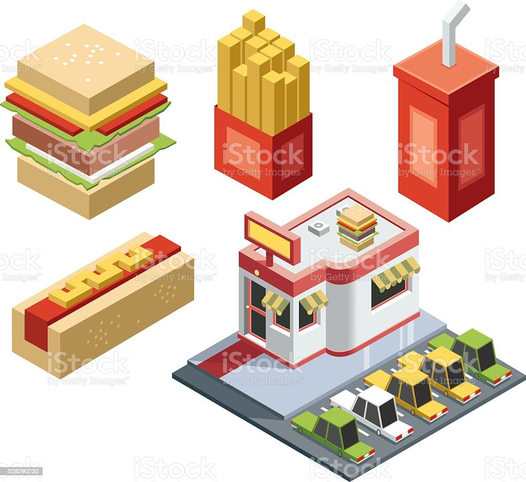 isometric fast food stuff vector art illustration