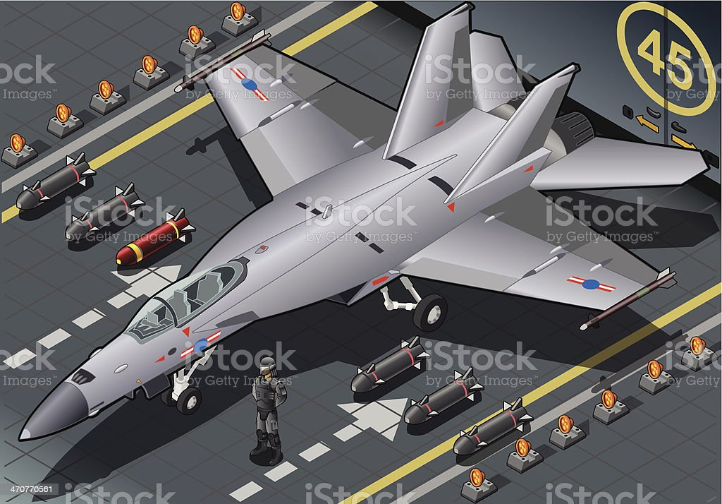 Isometric Fighter Bomber Landed in Front View vector art illustration