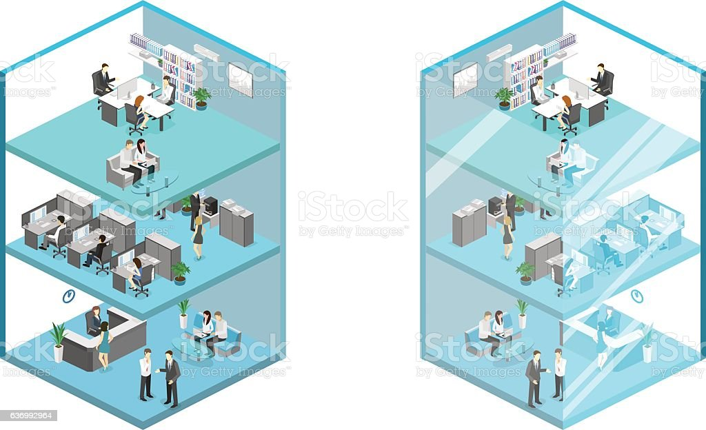 Isometric flat 3d abstract office floor interior offices vector art illustration