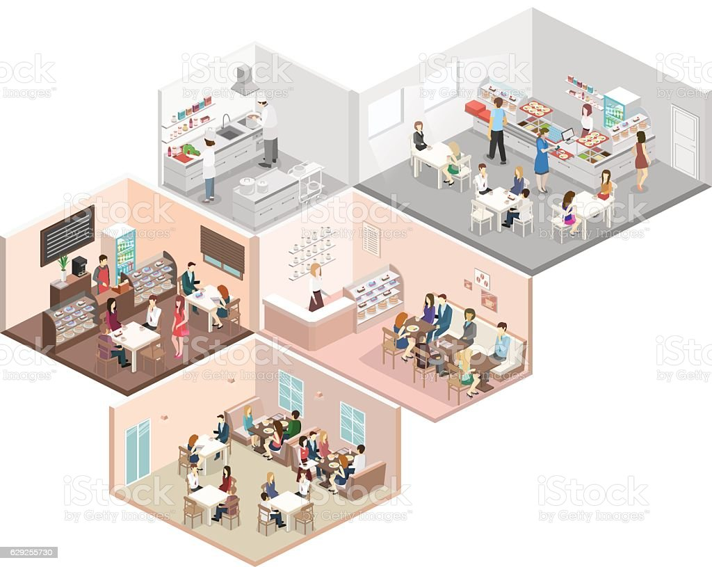 Restaurant Kitchen Illustration isometric flat 3d concept vector interior cafe canteen restaurant