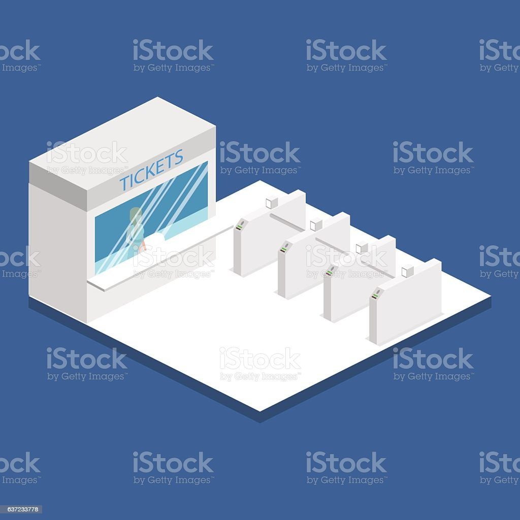 Isometric flat 3D concept vector interior of metro subway station. vector art illustration