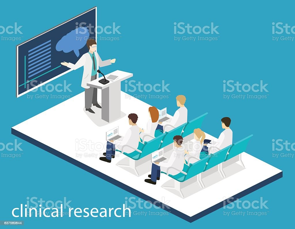 Isometric flat 3D  conference medical doctor clinic research training. vector art illustration
