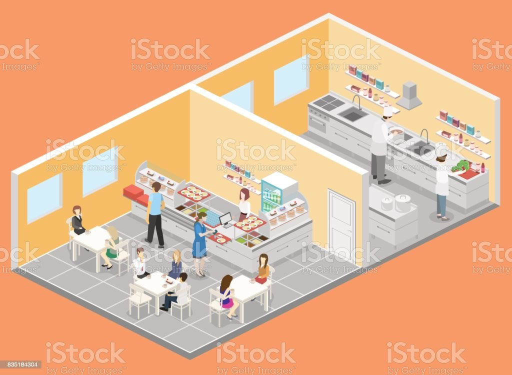Restaurant Kitchen Illustration isometric flat 3d interior of cafe canteen and restaurant kitchen