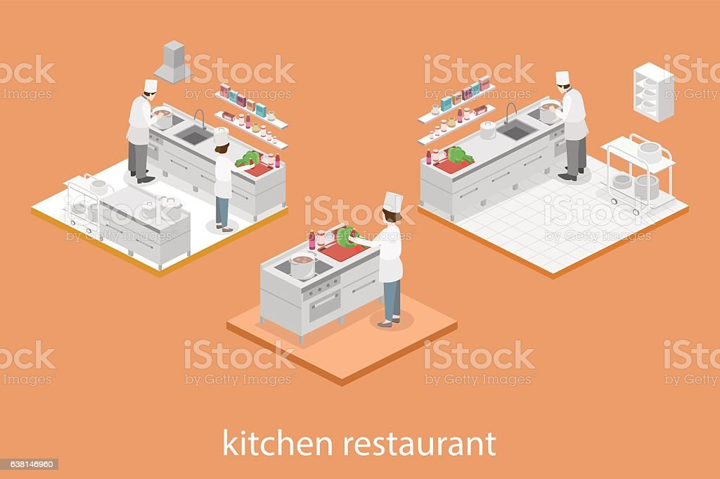 Restaurant Kitchen Illustration isometric flat 3d interior of professional restaurant kitchen