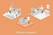 Isometric flat 3D interior of professional restaurant kitchen