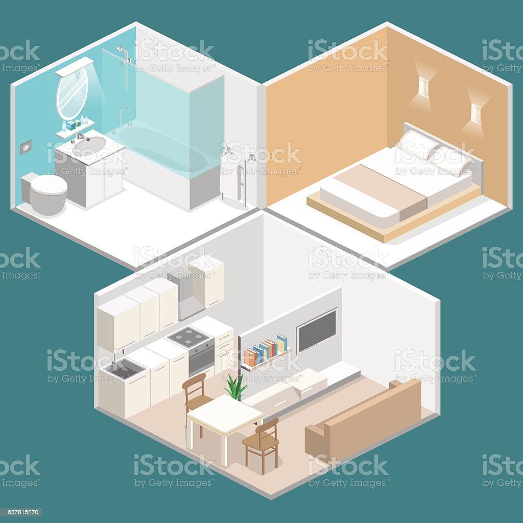 Isometric Flat 3D Vector Interior Kitchen Bathroom Living Room Bedroom Royalty Free Stock