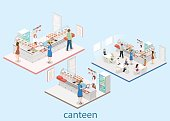 Isometric flat 3D vector interior of a canteen.