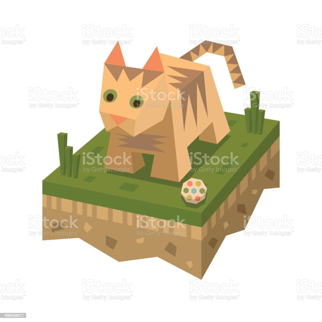 Isometric flat cat on the tile of ground vector art illustration