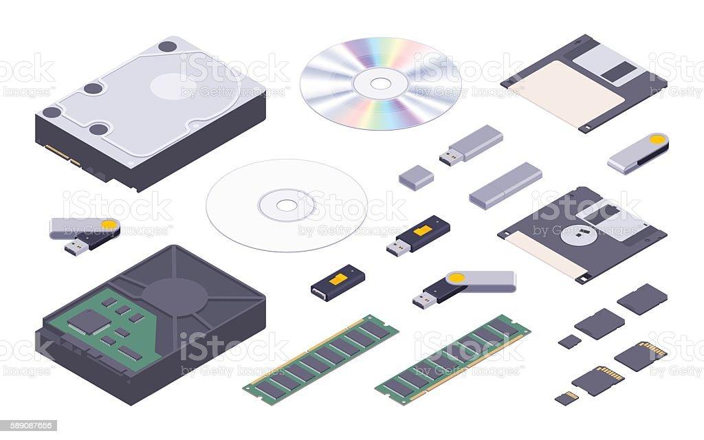 Isometric flat digital memory storages set vector art illustration