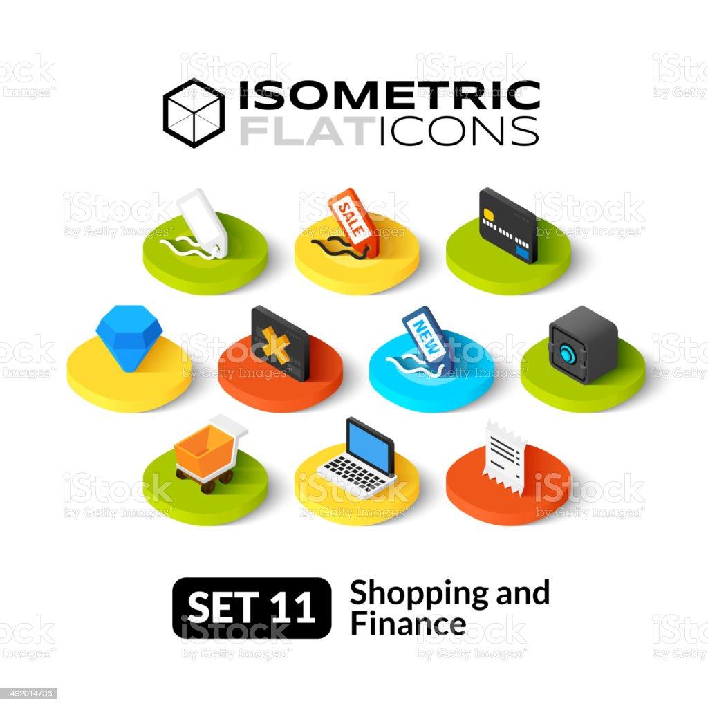 Isometric flat icons set 11 vector art illustration