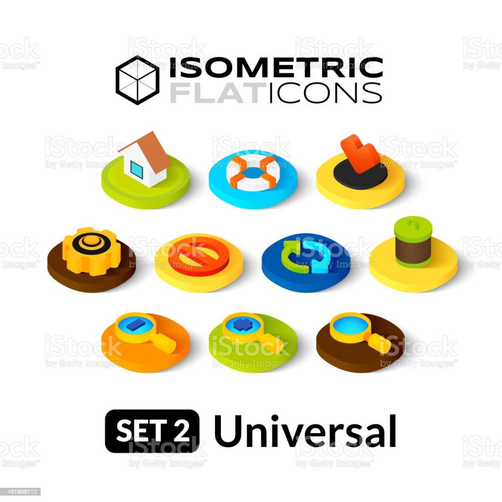 Isometric flat icons set 2 vector art illustration