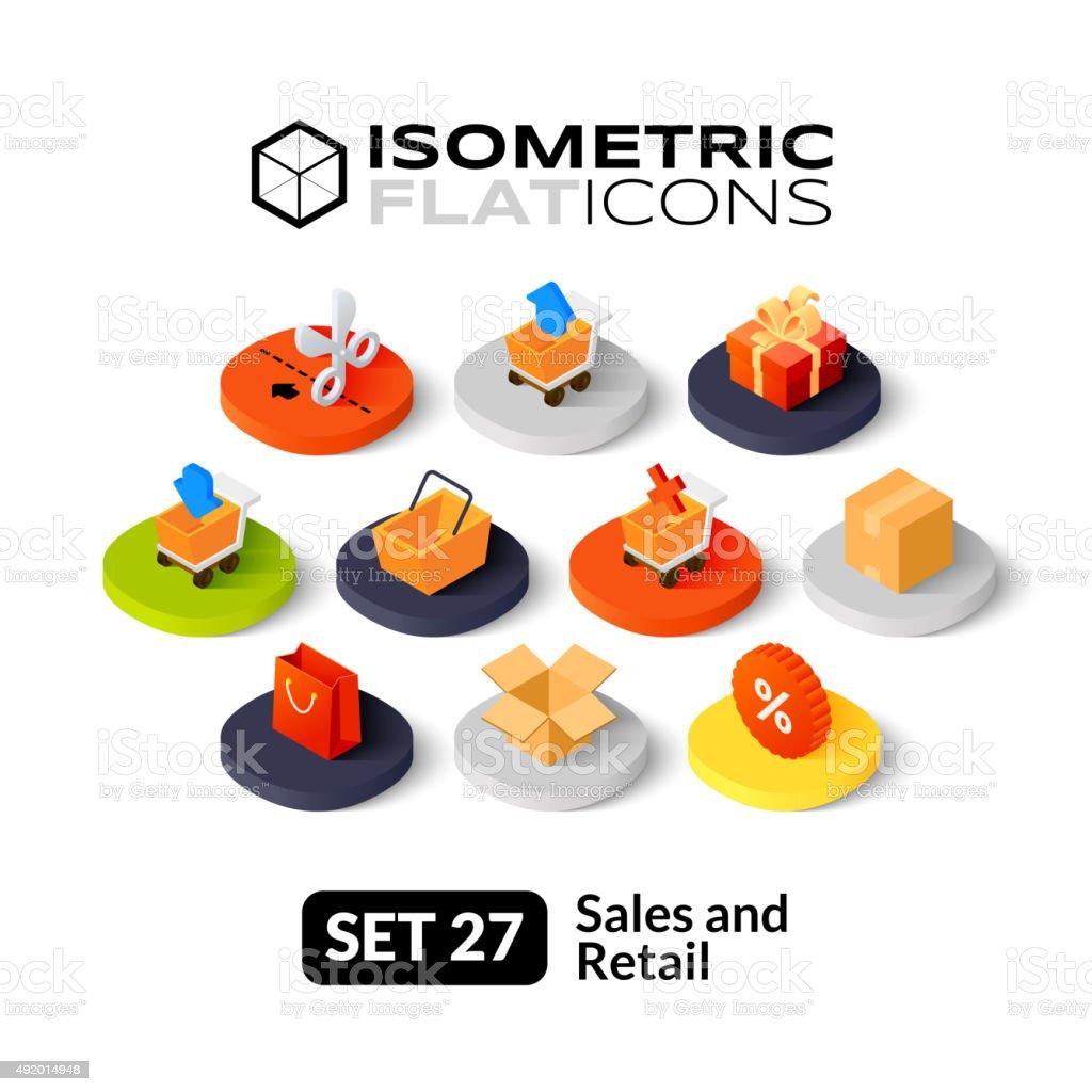 Isometric flat icons set 27 vector art illustration
