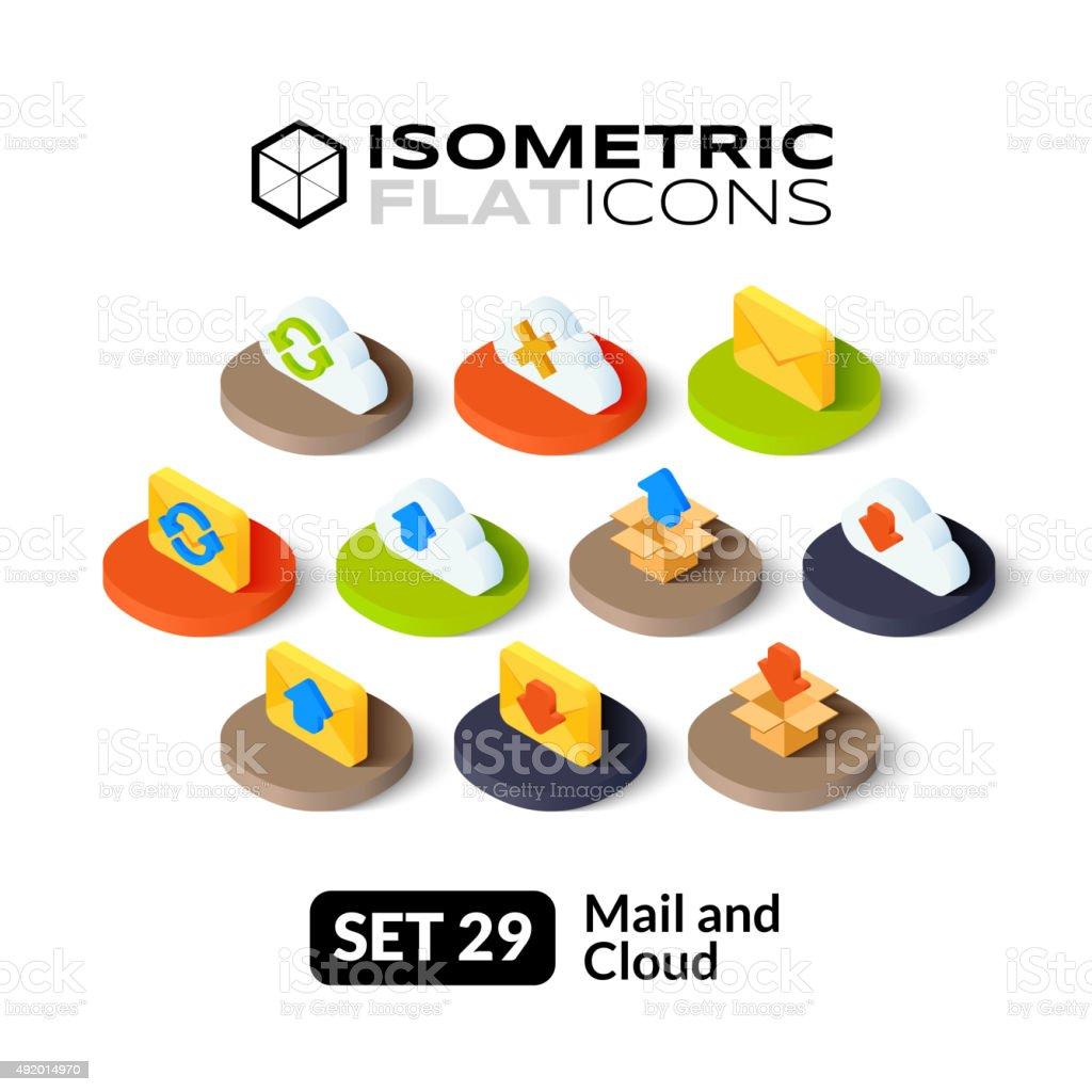Isometric flat icons set 29 vector art illustration