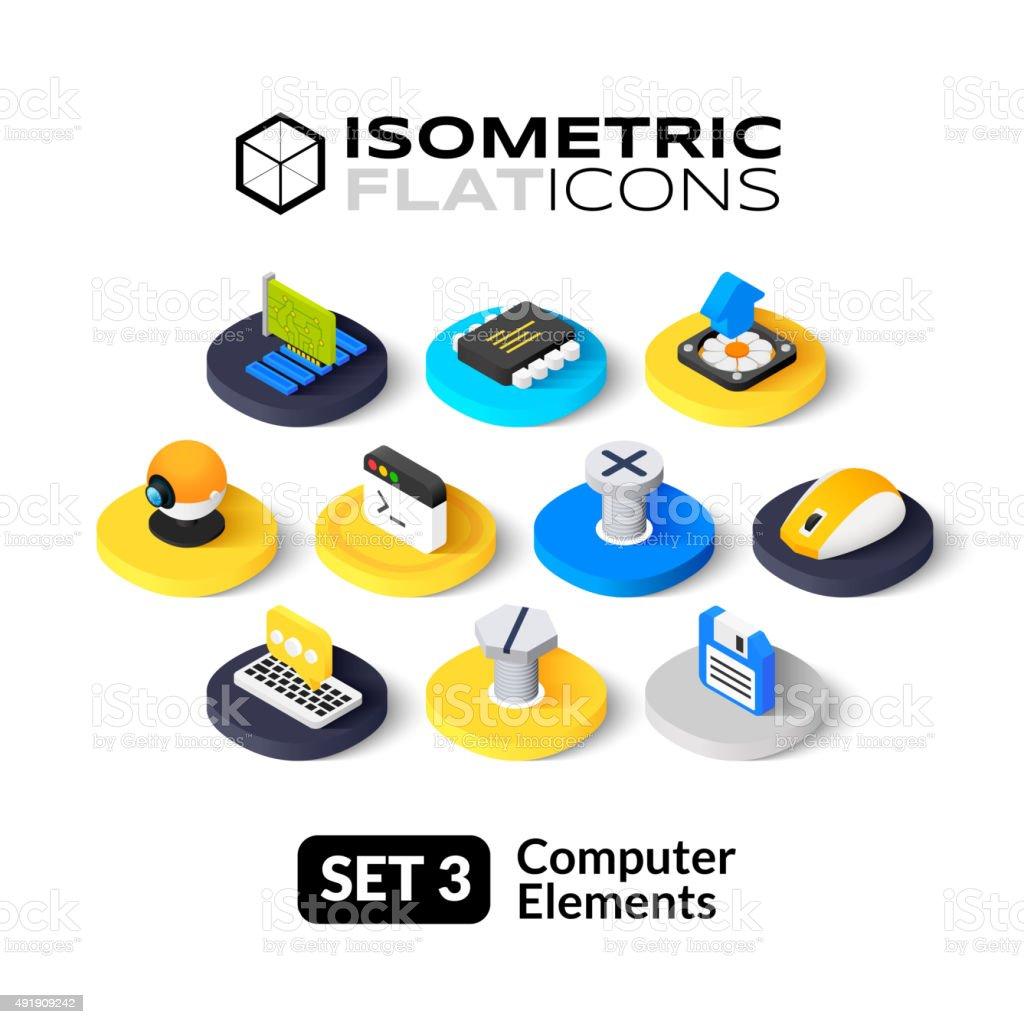 Isometric flat icons set 3 vector art illustration