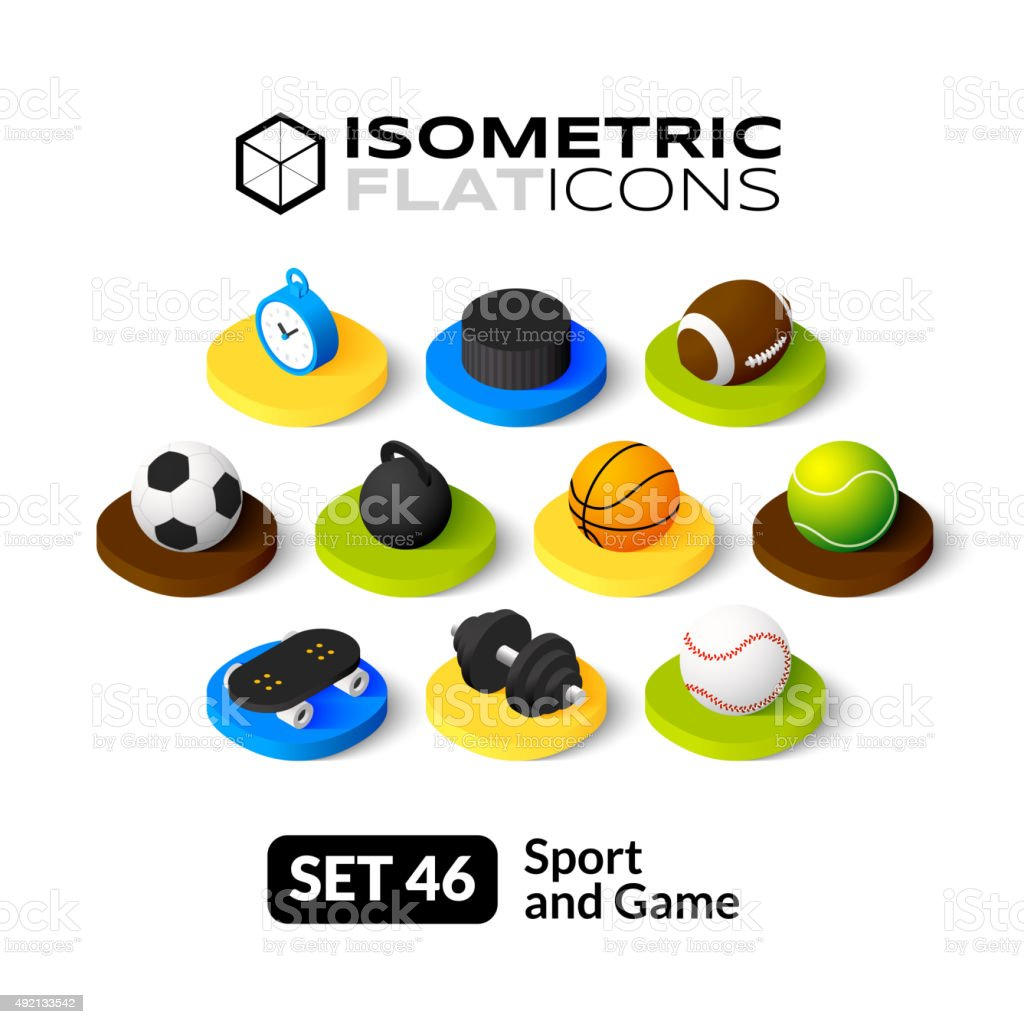 Isometric flat icons set 46 vector art illustration
