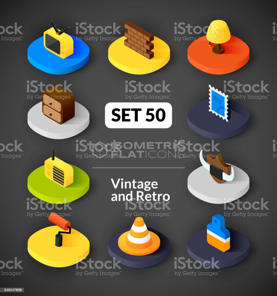 Isometric flat icons set 50 vector art illustration