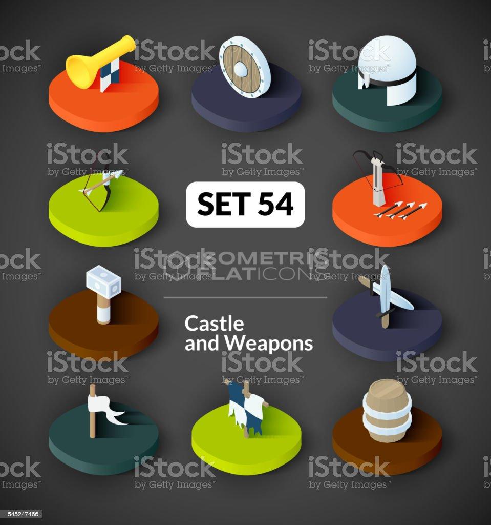 Isometric flat icons set 54 vector art illustration
